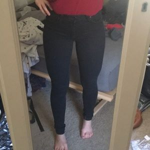 Lulus just black mid waist black skinny jeans 25
